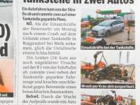 Tageszeitung Österreich 15032016 Unfall B1 Roggendorf
